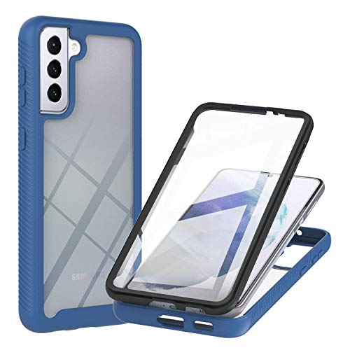 JZ Galaxy S21 5G 360 Degrees Front & Back Transparent Phone Custodia for per Samsung S21 5G / S21 4G Full Screen Coverage Custodia - Blue