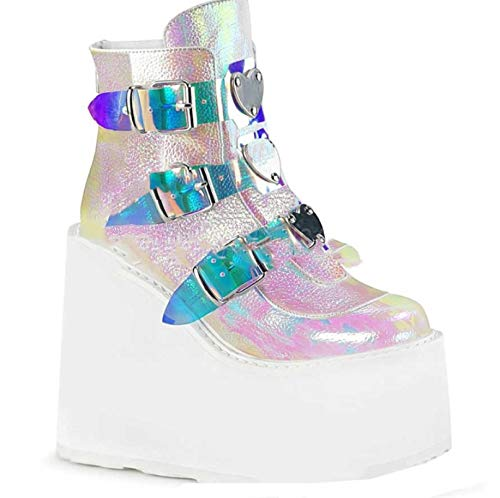 Women Punk Platform Boots Fashion Mixed Color Buckle Strap Wedge High Heels Spring Autumn Round Toe Party Goth Ankle Boots White
