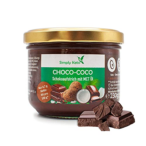 Simply Keto Choco-Coco Creme - Schokoaufstrich mit MCT Öl (Kokosöl) - Für Low Carb & Keto Ernährung - Ohne Palmöl & Zuckerzusatz - Gesüßt mit Erythrit - Glutenfrei & Vegan - 230ml