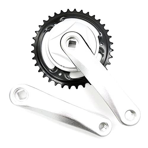 HIXISTO Plato Y Bielas,Dientes Y Bielas 36T 140mm Sola Velocidad Aleación de Aluminio Croquismo Rhombus Hole Chainwheel Sprocket de Acero Piezas de Bicicleta eléctrica