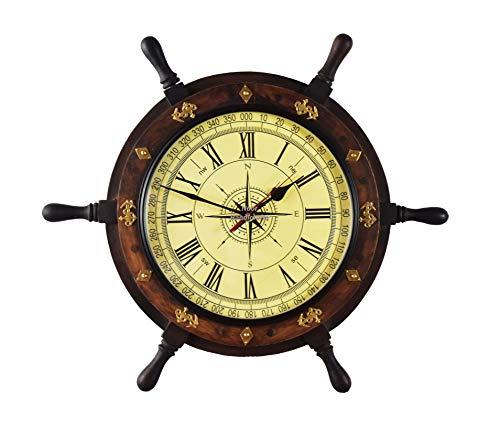 Reloj náutico hecho a mano de alta calidad para decoración de pared con ruedas de barco | Acento pirata | Reloj decorativo marítimo del tiempo ¡Ancla de latón (45,7 cm, tamaño del reloj – 25,4 cm)