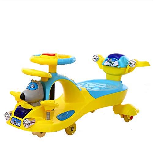 Moolo Kinder drehen Auto,Swing Car Kinder Spielzeug Schaukel Auto 1-3-7 Junge Mädchen Schiebe Spiele Fitness Yo Gyro Wiggle Scooter Mute Rollover Prävention (Farbe : Gelb)