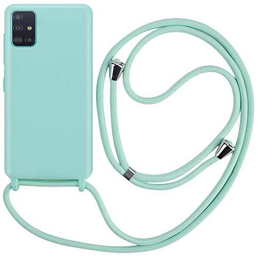 CLM-Tech Handykette kompatibel mit Samsung Galaxy A51 - Hülle mit Kordel zum Umhängen - Silikon Schutzhülle mit Band Schnur, mintgrün