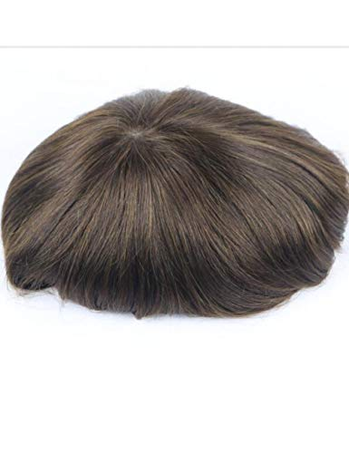 JKDKK perruques Thin Skin Toupee Men Real Human Hair Pieces Natural Hairline Virgin Hair Replacement System , 8X10,2# Wave