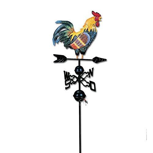 SIDCO Wetterhahn Windrad Windspiel Metall Hahn Wetterfahne Windanzeige Garten Deko