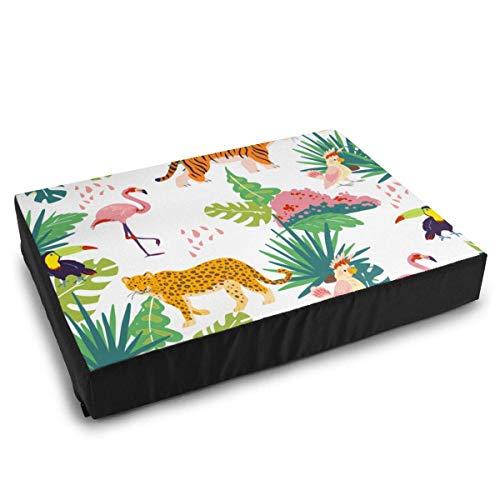 YAGEAD Haustierbettwäsche Dschungelpflanzen Tukan, Flamingo Tiger Hundebetten für mittelgroße kleine Hunde Beruhigendes waschbares wasserdichtes Kissenbett