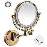 NHLBD LIHAIHAI Beautiful Fashion Mirada de Maquillaje Montado con Luces LED, girando tocador de Dormitorio o tocador de baño (Color : Antique Copper, Size : 7X)