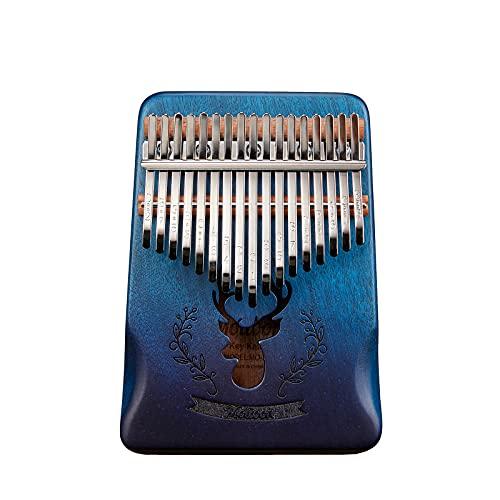 Molioon Kalimba 17 Tasten Daumen Klavier Hirsch Kalimba Tiger Klavier Mbira Keyboard Musikinstrument mit Tasche, Stimmhammer, Lernanleitung und Aufklebern für Kinder Erwachsene Anfänger Geschenk