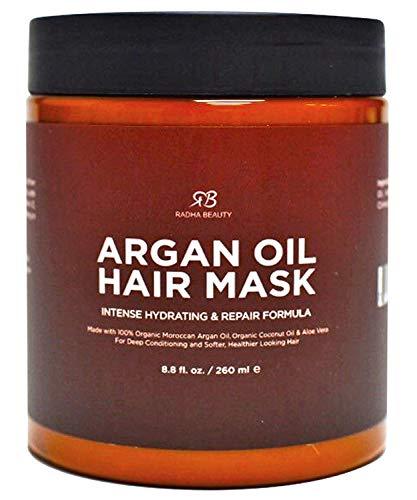 Radha Beauty Haarmaske mit Arganöl und intensiv feuchtigkeitsspendender Reparaturformel mit 100% Bio-Arganöl, Kokosöl und Aloe Vera 236mL