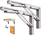 Klappkonsole Schwerlast 500mm Edelstahl Klappkonsolen Klappkonsole Tisch Klappregalhalterungen Klappträger Regalträger für Bänke und Regale, Tragkraft:160kg (2 Stück)