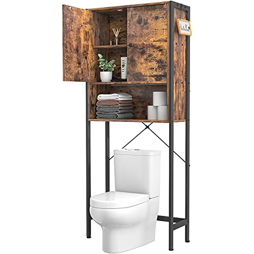 Ecoprsio Over-The-Toilet Storage Cabinet Rack, Bathroom Organizer Shelf Over Toilet, Freestanding Space Saver Toilet Stands with 2 Hooks, Rustic Brown
