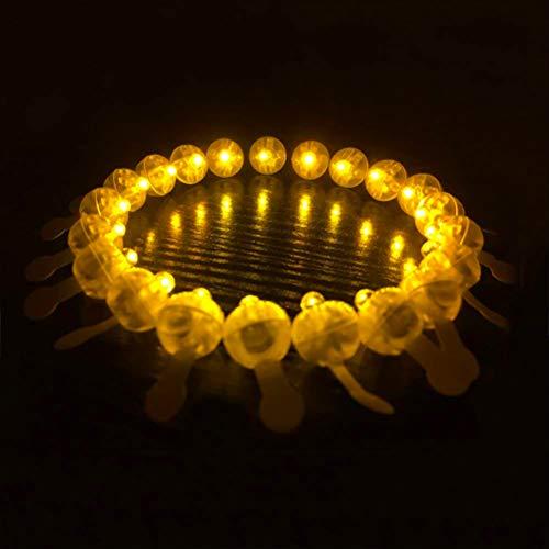 100 Stück Mini LED-Lichter Luftballons Papierlaternen Mini LED-Lichter batteriebetrieben kabellos beleuchtet runde Luftballons Komtemporär gelb