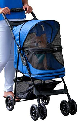 Pet Gear - Passeggino senza zip Happy Trails per cani e gatti, senza cerniera, facile da piegare con fodera rimovibile, cesto portaoggetti + portabicchieri
