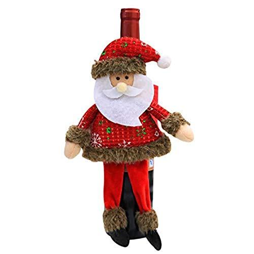 Navidad Sombrero Navidad Botella de Vino Cap Navidad Muñeco de Nieve Muñeca Doll Christmas Home Restaurante Cena Decoración Navidad Champagne Hat 3.5x6cm Rojo WTZ012 (Color : Red, Size : 3.5x6cm)