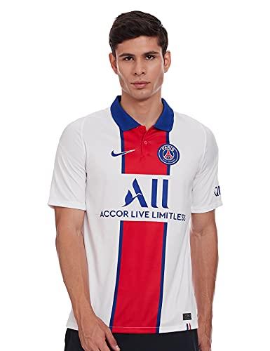 NIKE Paris Saint-Germain Temporada 2020/21-PSG M NK BRT STAD JSY SS AWCD4241-101 Camiseta Segunda Equipación, Unisex, White/Old Royal, XL