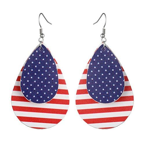 BESTOYARD Mode Amerika Nationalflagge Haken Ohrringe Leder Schmuck Accessoires Geschenke für Frauen Mädchen (4)