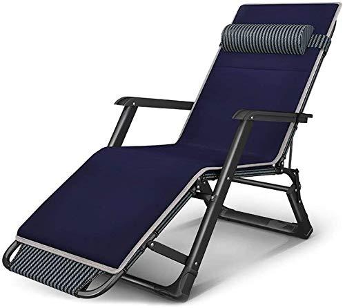 Sillas plegables tumbona sillón reclinable silla reclinable sillas de playa del sol silla de oficina pausa para el almuerzo sola cama plegable silla fácil gravedad cero silla portátil de casa,Blue