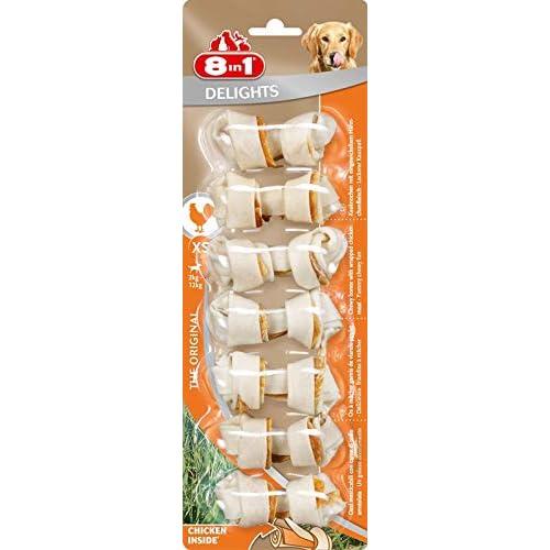 8in1 Delights Chicken XS Ossi Masticabili al Gusto di Pollo, per la Pulizia dei Denti dei Cani di Taglia Piccola - 7 Pezzi
