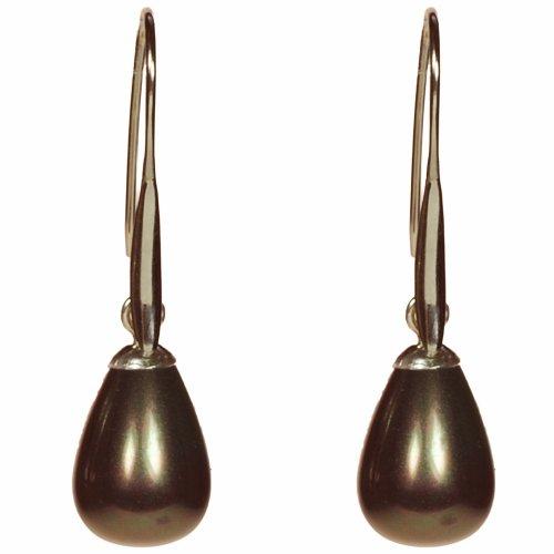 Funk-Ohrschmuck Tamouree Muschelkernperlen Ohrhänger, Farbe Peacock braun schimmernd, Tropfenform,Ø ca. 10x13 mm