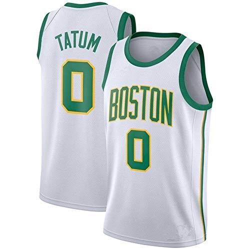 ZeYuKeJi Hombres Camiseta de la NBA Celtics Nueva Jersey # 0 Tatum Malla de Baloncesto Retro de edición Conmemorativa de Baloncesto Camiseta sin Mangas (Color : White Green Edge, Size : XXL)