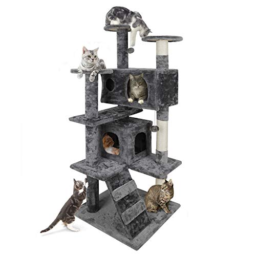 Nova Microdermabrasion 53' Multi-Level Cat Tree Stand House Furniture Kittens Activity Tower with Scratching Posts Kitty Pet Play House (Grey)