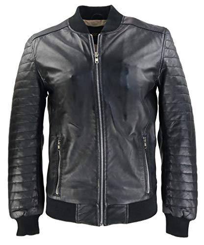 RICANO 11151, Herren Lederjacke im College-Stil mit Bikerapllikationen aus echtem, weichem Lamm Nappa Leder (Glattleder) in schwarz (Schwarz, XL)