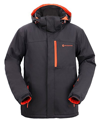 Andorra Men's Performance Insulated Ski Jacket with Zip-Off Hood,Tangerine Burst,M