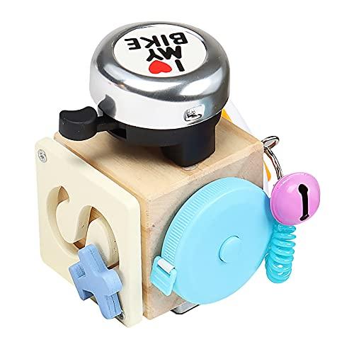 Fuaensm Cube d'activités occupé – Jouet Montessori en bois, jouets de voyage pour tout-petits, jouets éducatifs, planches d'activités occupées pour apprendre les compétences musicales de base, 1,