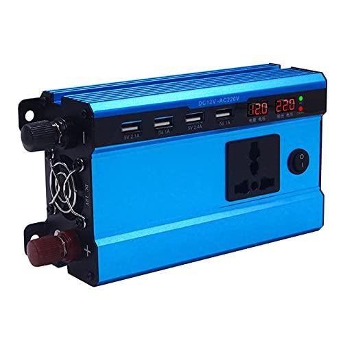 LANGTAOSHA Inversor De Corriente 500 W CC 12V/24V CA 220 V, Convertidor para Automóvil Encendedor De Cigarrillos con Enchufe De 1 Clavija Y 4 Puertos USB,500W/12V