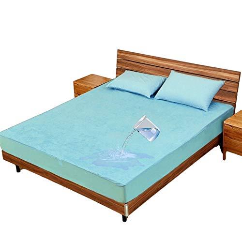 Protector De Colchón Impermeable Y Transpirable Cubre Colchón Transpirable Funda De Cama con Correas Protección contra Líquidos (Color : Blue, Size : 140x200+30cm)