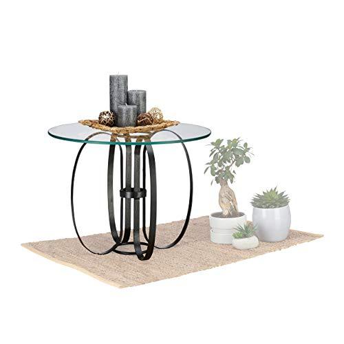 Native Home Table d'appoint Ronde Verre métal, Table Moderne Table Basse futuriste HxD: 45 x 60 cm, Transparent-Noir