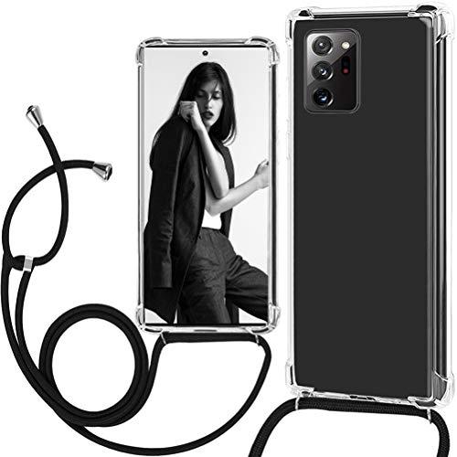 Croazhi Kompatibel mit Samsung Galaxy Note 20 Ultra 5G Hülle Hülle Cover Silikon Transparent Handyhülle Handykette mit Band Kordel 360 Grad Bumper Original Tasche für Galaxy Note20 Ultra 5G Handy