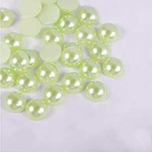6mm / 8mm / 10mm cuentas de perlas de imitación acrílicas con parte trasera plana media redonda para diseños de bricolaje, accesorios de ropa, verde claro, 10mm 100 piezas