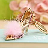 Feather High Heels Shoes Korean Bow Heels Keychain Keyring with Cute Fur Ball for Car Key Purse Bag (Pink)