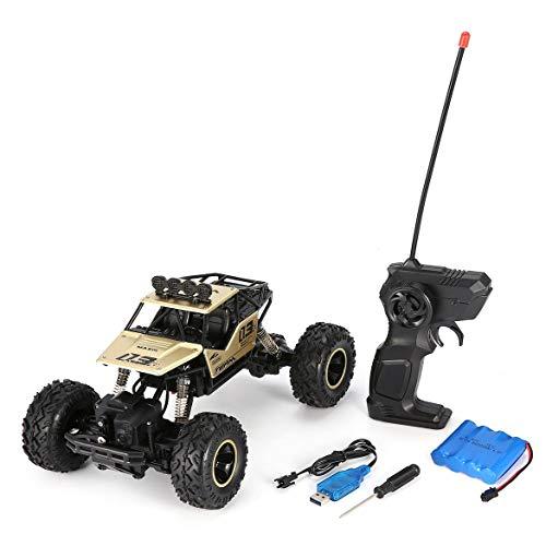 OocciShopp 1/16 2.4Ghz Aleación Cuerpo Shell Rock Crawler 4Wd Motores Dobles Control Remoto Todoterreno RC Buggy Bigfoot Escalada Coche Vehículo Juguetes (Oro)