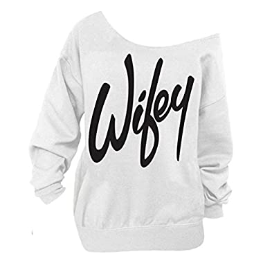 Begonia.K Women's Wifey Shirt Letter Print Off The Shoulder Slouchy Pullovers, White/Black, Medium