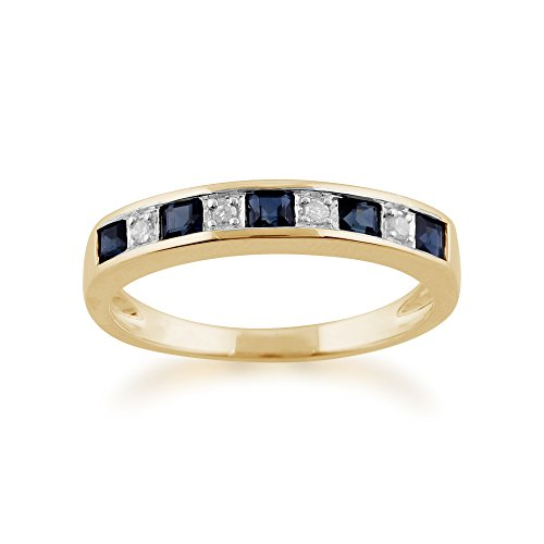 Yellow 9ct Gold 0.40ct Natural Sapphire & Diamond Half Eternity Band Ring