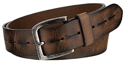 "Marc's Vintage Brown Genuine Leather Casual Jeans Belt 1-1/2"" wide - Brown, 38"