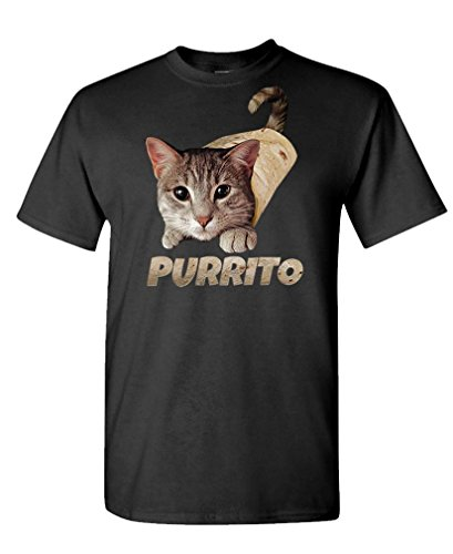 Purrito - cat Burrito Funny Joke Meme Kitty - Mens Cotton T-Shirt, M, Black