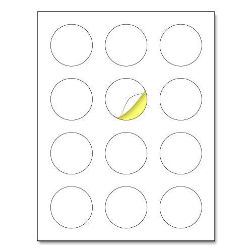 2' Round Matte White Sticker Label, Laser/Inkjet Printing - Letter Size, 30 Sheets