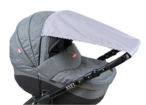 BABYLUX Sonnenschutz für Kinderwagen Buggy Babywanne UV Schutz Rollofunktion Universal SONNENSEGEL Sonnendach Verstellbar (Grau)
