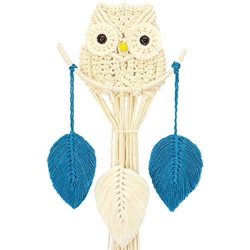 Handmade Owl Macrame Wall Hanging Woven Boho Chic Decor | Macremae Wall Decor | Boho Decor for Bedroom | Lucky Macrame Hanging Wall Decor | Beautiful Geometric Wall Art for Apartment | 11x36 Inches