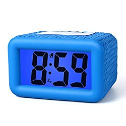 Plumeet Digital Clock - Kids Alarm Clocks with Snooze and Backlight - Simple Travel Clocks Large LCD Display - Ascending Sound and Handheld Sized - Good for Kids (Blue)