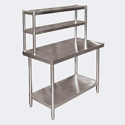 Mesa trabajo acero inoxidable 120x60x85cm estantería 2 niveles patas regulables Hostelería Gastro ✅