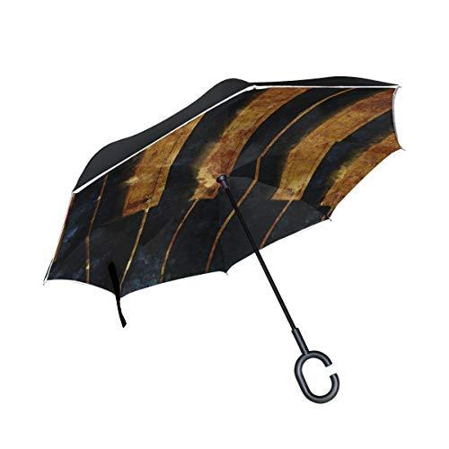 rodde Doppelschicht-umgekehrter Alter Klavier-Weinlese-Regenschirm-Auto-Rückwinddichter Regen-Regenschirm für das Auto im Freien mit C-förmigem Griff
