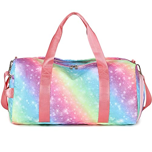 Sport Gym Duffle Travel Bag for Women Girls Overnight Weekender Duffel with Shoe Compartment, Wet Pocket (Rainbow -E)