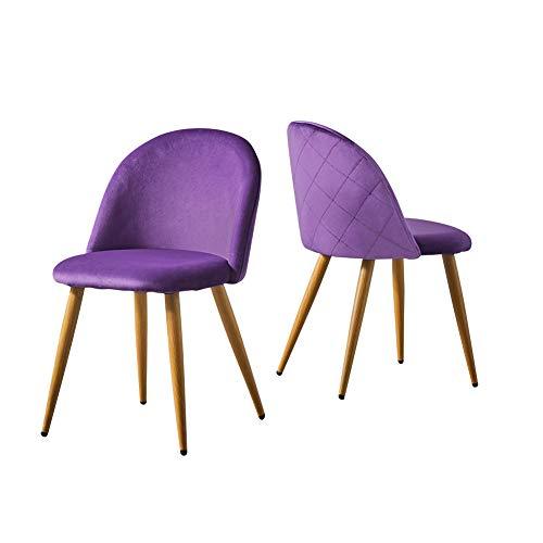 CLIPOP Esszimmerstuhl 2er Set, Retro Style Samtig Stoffbezug Küchenstühle, Gepolsterter Akzentstuhl mit Holzfarbe Metallbeine für Küche/Lounge/Schlafzimmer/Büro (Violett)