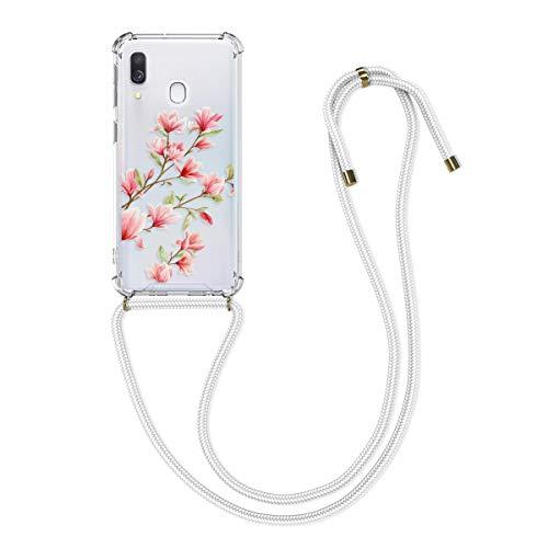 kwmobile Schutzhülle kompatibel mit Samsung Galaxy A40 - Hülle mit Kordel zum Umhängen - Silikon Handy Hülle Magnolien Rosa Weiß Transparent