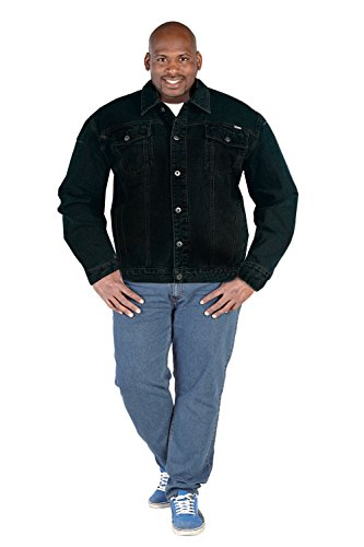 Duke KS1304 Trucker Mens Black Denim Jacket - Black - 4X Large