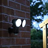 Outdoor Security Wall Light - Battery Operated - PIR Motion Sensor - 350 Lumen LED Floodlight (Twin)